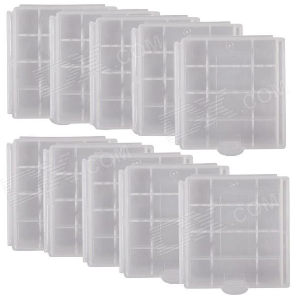 CM01 Professional Protective PVC Storage Case for 4 x AA / AAA Batteries - White (10PCS)