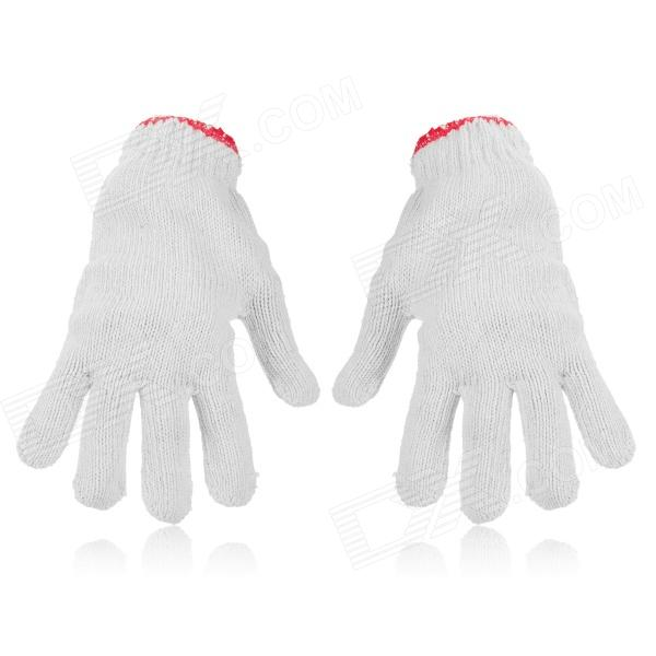 LBST001 Labor Cotton Yarn Gloves - White + Red (Pair)