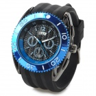 Polly Ho Zinc Alloy Casing Silicone Wristband Analog Quartz Watch for Men - Blue + Black