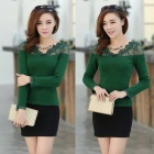 Lace Collar Slim Long Sleeves Top - Green (Size M)