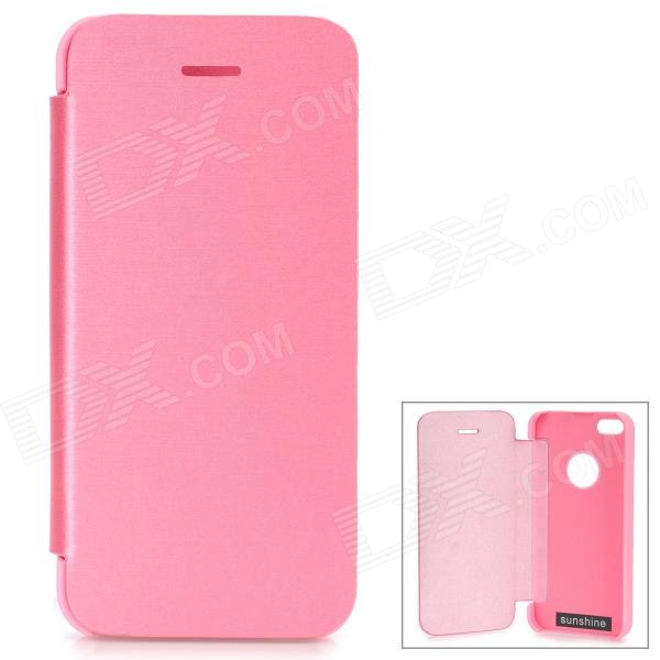 Protective Aluminum Alloy + PU Case for IPHONE 5S / 5 - Deep Pink ipega i5056 waterproof protective case for iphone 5 5s 5c pink