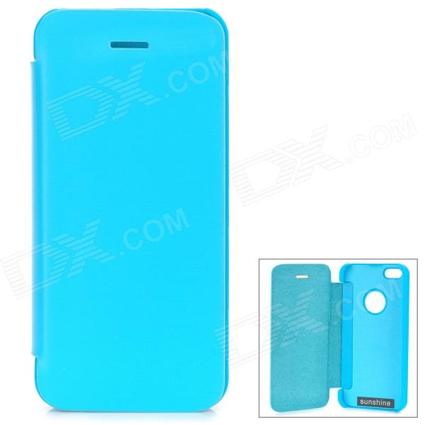 Protective Aluminum Alloy + PU Case for IPHONE 5 / 5S - Blue protective aluminum alloy bumper frame case for iphone 5 5s light blue