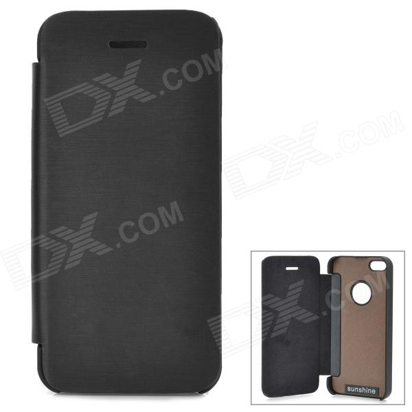 Protective Aluminum Alloy + PU Case for IPHONE 5S / 5 - Black shure cvb w o
