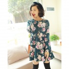 Retro Flower Pattern Dress - Green + White (Size M)