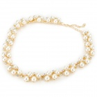 Fashion Pearl Style Zinc Alloy w/ Rhinestones Necklace for Women - Golden