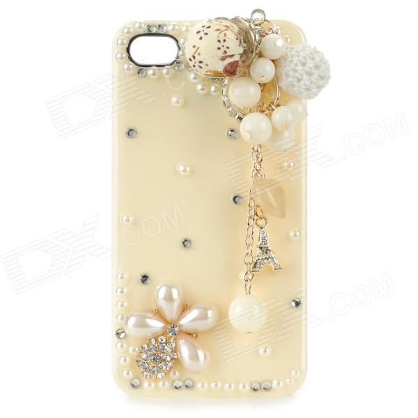 Housse de protection en plastique de protection Flower + Chain pour IPHONE 4 / 4S - Blanc