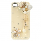Flower + Chain Style Protective Plastic Back Case for IPHONE 4 / 4S - White