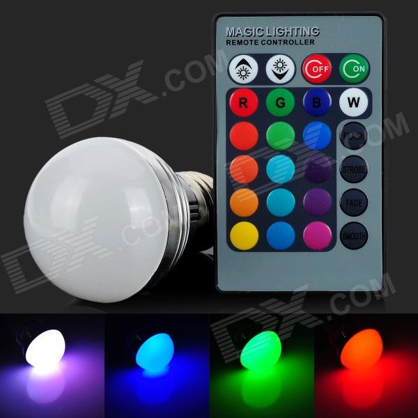 E27 3W 4200K LED RGB Light Bulb w/ Remote Controller - White + Light Green (AC 85~265V) jr led e27 10w 500lm led rgb light bulb w remote control white silver ac 85 265v