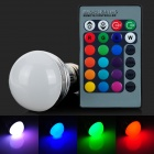 E27 3W 4200K LED RGB Light Bulb w/ Remote Controller - White + Light Green (AC 85~265V)