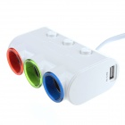 USB 3-Socket Car Charger Adapter with Switches - White (DC 12~24V)