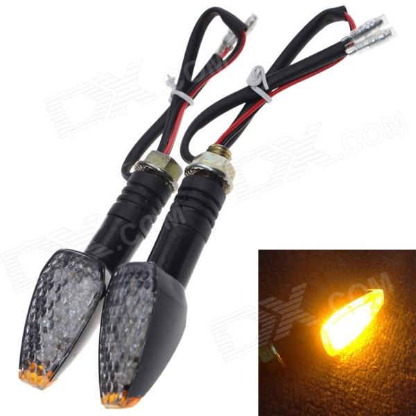 DIY Waterproof 0.5W 50lm 10-LED Motorcycle Yellow Light Steering Lamp (2 PCS)