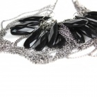 Stylish Multi-Chain & Oval Pendant Vows Necklace - Black