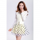 Fashion Lady Style Dot Pattern Lace Slim Dress -White + Black (Size M)