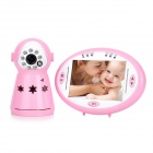 "2.4GHz Wireless 3.5"" LCD 1/4"" CMOS Night Vision Monitoring Camera for Baby - Pink + White"