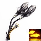 WaLangTing Waterproof 3W 45lm 9-LED Yellow Light  Motorcycle Turn Signals Lamp - Black (12V / 2PCS)
