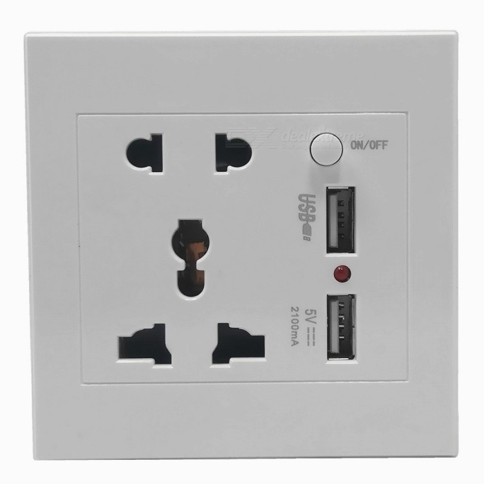 AC Power Socket w/ Switch Control / Dual-USB Socket Wall Panel - White + Black (US & AU Plug) high quality rice cooker parts rice cooker socket all copper ac power tripod socket 10a 250v black white