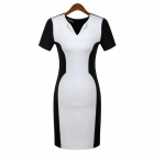 VEPO MODA HB-1 2014 Fashionable Women's Dress - White + Black (Size-XL)