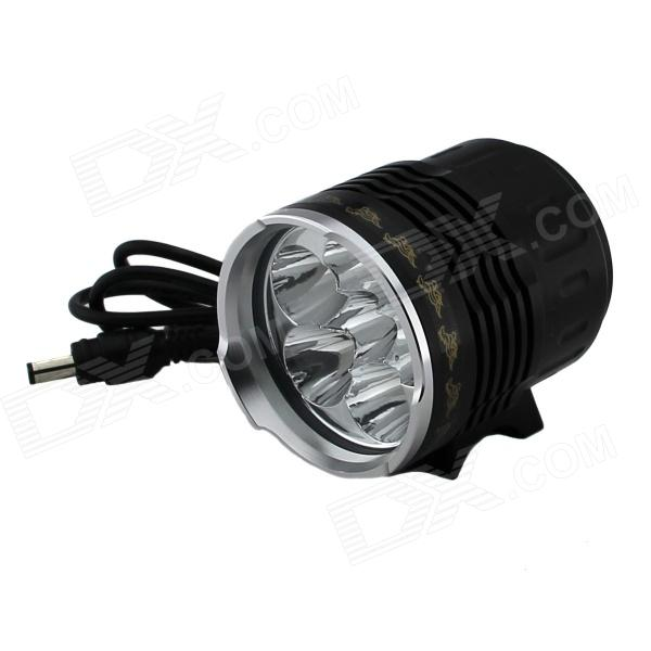 6-LED 2500lm 5-Mode White Light Bicycle Lamp - Black (6 x 18650) 950lm 3 mode white bicycle headlamp w cree xm l t6 black silver 2 x 18650