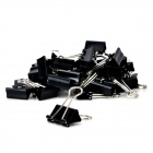 JIN SI HOU 8564 Convenient Stainless Steel + Iron Binder Clips - Black + Silver (48PCS)