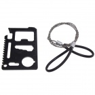 Outdoor Camping Tool Wire Saw + Multifunction Portable Tools Card Set - Black + Silver