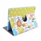 Lofter Lion Family Illustration PU Leather Case Cover Stand for RETINA IPAD MINI - White + Blue