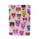 Lofter Owl Family Illustration PU Leather Case Cover Stand for RETINA IPAD MINI - White + Purple