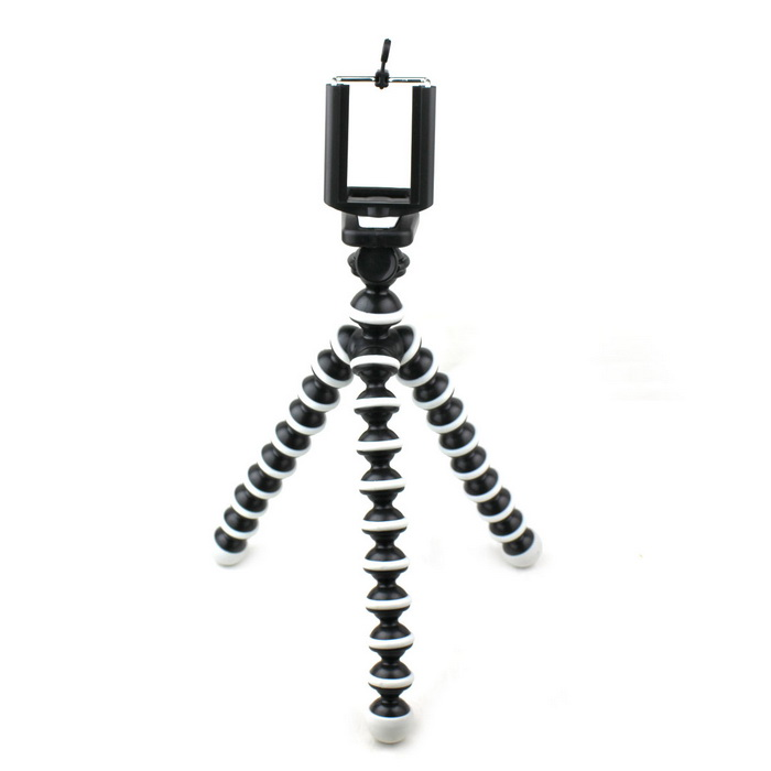 10-Inch 2-in-1 Multi-Function Octopus Style Tripod for Cell Phone / Camera - Black + White universal nylon cell phone holster blue black size l