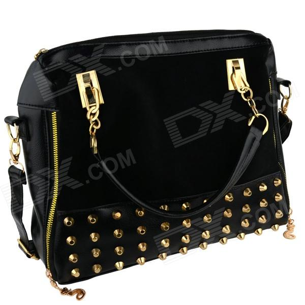 Fashionable Nubuck PU Leather + Rivet Hand Bag / Messenger / Shoulder Bag - Black