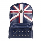 8078 Fashionable British Flag Pattern Rivet PU Leather Personality Backpack - Blue + Red + Beige