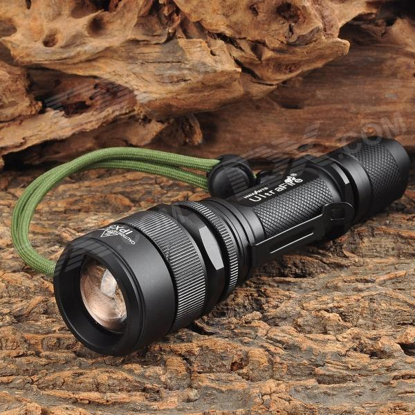UltraFire LED 5-Mode 500LM Zoom-to-throw Flashlight - Black (1 x 18650) ultrafire m3 t60 3 mode 910 lumen white led flashlight with strap black 1 x 18650