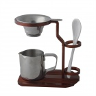 Stylish Aluminum Tea-making Stand w/ Stainless Steel Tea Strainer - Red Brown + Silver