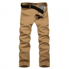 Men's Slim Stylish Cotton Casual Pants - Khaki (Size 30)