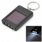 UltraFire LZZ-10 Solar Powered 3-LED White Light Keychain - Black + White