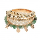 ML016 Fashion Multi-in-1 Women's Zinc Alloy Bracelets - Golden + White