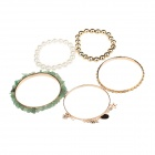 ML016 Moda bracciali di lega zinco Multi-in-1 donna - Golden + bianco