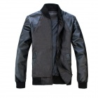 Stand Collar Men's PU Leather Stitching Jacket Coat - Black + Gray (Size L)