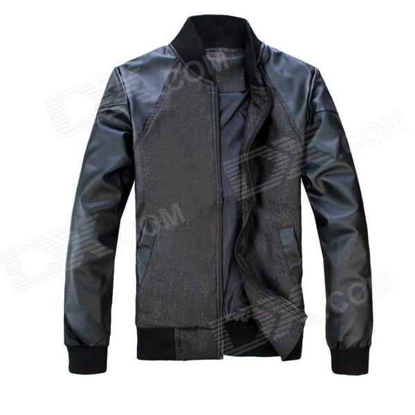 Stand Collar Men's PU Leather Stitching Jacket Coat - Black + Gray (Size XL)