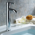 Fashion Single Handle Chrome Finished Solid Brass Bathroom Sink Faucet