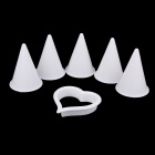 DIY Cake Decoration Mold Set One Heart-shaped Cutter + Five Cone Formers Mold - White