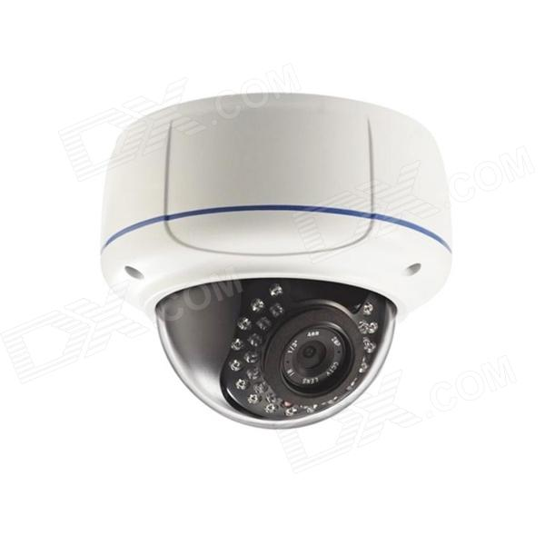 IPCC-D13 720P 2.8~12mm Vari-focal P2P IR-Cut Onvif Vandal-proof IP Dome Camera - White - DXIP Cameras<br>1/4 Megapixel CMOS?Max image Resolution 1280*720@25fps H.264 Main Profile @ level 3.0 coding Real time H.264 dual-stream encoding resolution frame rate bit rate adjustable Support Color/BW mode converting IR-CUT Filter Build in Motion Detection auto-retrieve function and auto-connection network including PC surveillance platform and mobile client Easy to remote Integrated ONVIF standard Compatibility with third-party ONVIF platform software Indoor use Mobile view allows you to realize remote view &amp;amp; anywhere &amp;amp; anytime. Support two-dimension barcode(QR code) scanning<br>