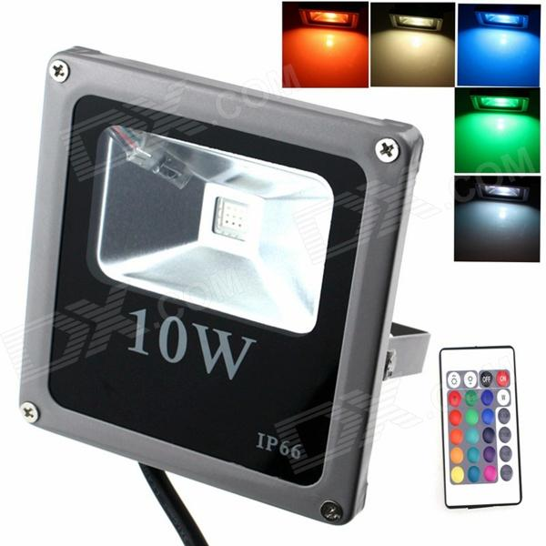ZHISHUNJIA IP66 10W 900lm LED 7-Color Project Light w/ Remote Controller - Grey + Black (85~265V)