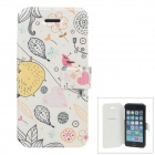 Fashionable Cartoo Style Protective PU Leather Case Cover for IPHONE 5 / 5S - White + Pink