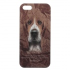 C300002 Animal Series Cute Dog Style Protective Plastic Back Case for IPHONE 5 / 5S - Brown + White