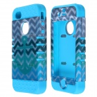 HM01 Zigzag Anchor Pattern Protective Silicone Back Case for IPHONE 4 / 4S - White + Blue