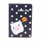 Cute Pig Pattern Protective PU Leather Case Cover Stand w/ Auto Sleep for IPAD 2 / 3 / 4 - Deep Blue