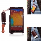 Newtop Soft-Touch Protective PU Leather Case w/ Strap for SAMSUNG GALAXY Note 3 - Red Brown
