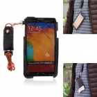 Newtop Soft-Touch Protective PU Leather Case w/ Strap for SAMSUNG GALAXY Note 3 - Black