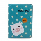 Cute Pig Pattern PU Leather Case Cover Stand w/ Auto Sleep for RETINA IPAD MINI - Blue Green