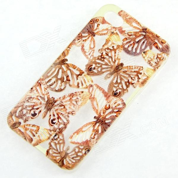 ENKAY Butterfly Pattern Hollow-out Protective Plastic Back Case for IPHONE 4 / 4S - Brown