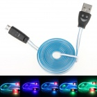 Smiling Face Micro USB Male to USB Male Data Charging Cable - Blue + Black (95cm)